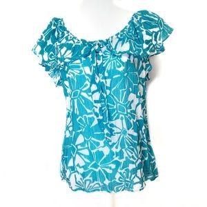 Trina Turk floral print silk blend top Large
